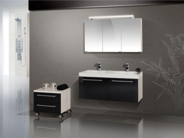 Design Badezimmermöbel - Set mit Spiegelschrank und Minerallgusswachtisch