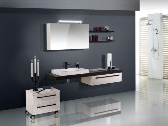 Design Badezimmermöbel - Set mit Waschtischplatte und Mineralgusswachtisch