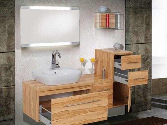 Design Badezimmermöbel - Set mit Waschtischplatte und Spiegel