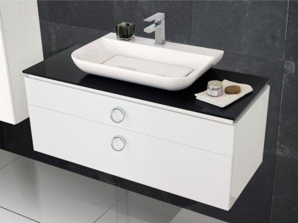 Design Waschplatz mit Mineralgusswaschtisch und Glas-Waschtischplatte
