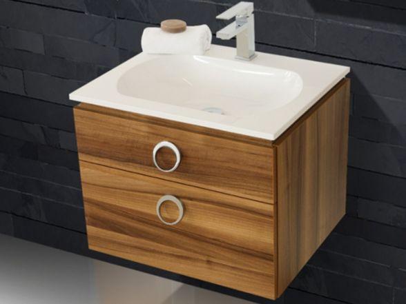 Design Waschplatz mit ultraflachem Mineralgusswaschtisch 60cm