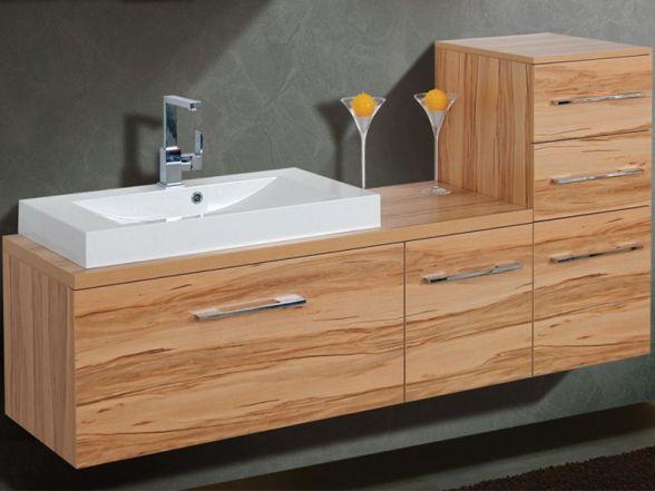 Design Waschplatz mit Waschtischplatte, Unterschrank und Highboard