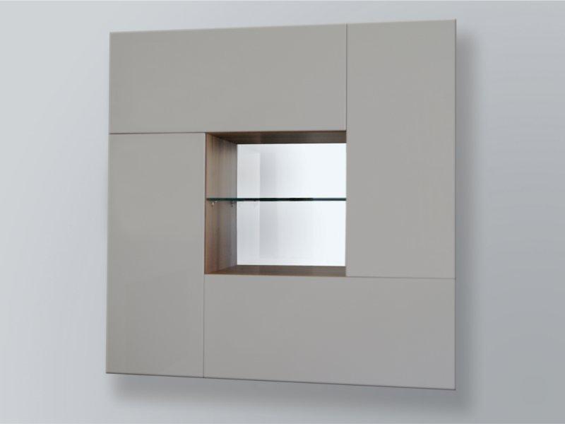 Design Wohnwand Cube Mit Glaselementen Und Led Beleuchtung Paul