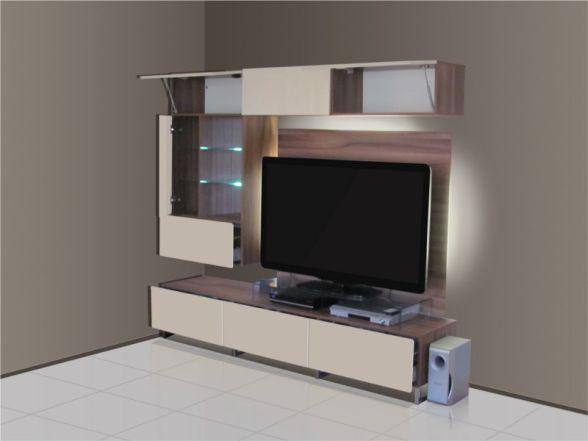 """Design Wohnwand """"DELIGHT"""" mit Glaselementen und LED-Beleuchtung"""