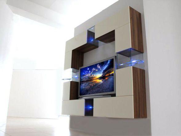 """Design Wohnwand """"DELUX"""" mit Glaselementen und LED-Beleuchtung"""