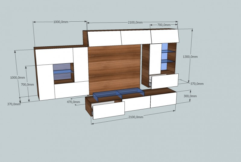 design wohnwand quadron mit glaselementen und led beleuchtung paul gottfried. Black Bedroom Furniture Sets. Home Design Ideas