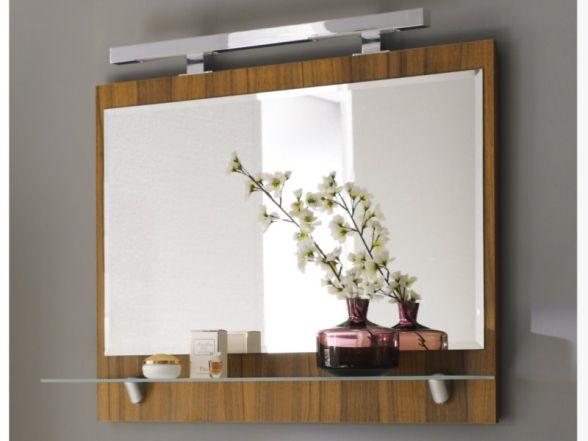 Posseik Spiegel mit Ablageboden 90cm, Walnuss Nachbildung