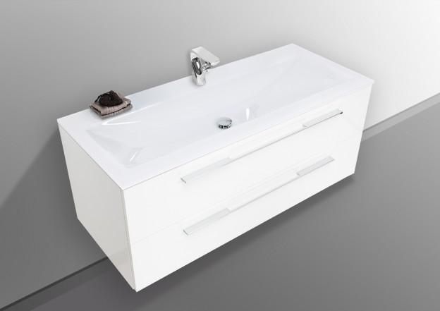"""Waschplatz weiß Hochglanz """"AREZZO"""" 120 cm mit Glaswaschtisch"""