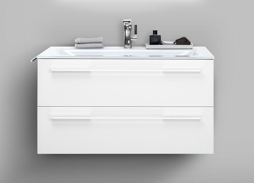 waschplatz wei hochglanz arezzo 90 cm mit glaswaschtisch paul gottfried. Black Bedroom Furniture Sets. Home Design Ideas
